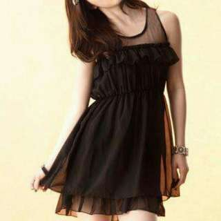 Little Black Korean Chiffon Chic Dress