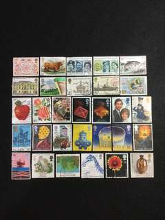 D.Great Britain 30 Different Used Stamps  (Lot D)