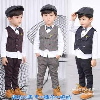 🚚 (襯衫+馬甲+褲子+領結)男寶寶秋裝新款小男童潮童嬰童長袖襯衫紳士套裝馬甲三件套2-7歲