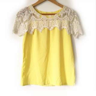 Yellow Top with Lace Accent