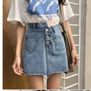 腰不規則毛邊牛仔短裙女寬鬆學生半身裙褲(2色)