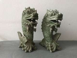 "A pair of rare hand carved marble ""Dragon Koi"". Size: 10""h x 3.5""w."