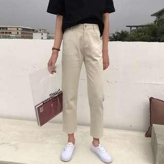 [PO] Khaki Straight Cut Pants