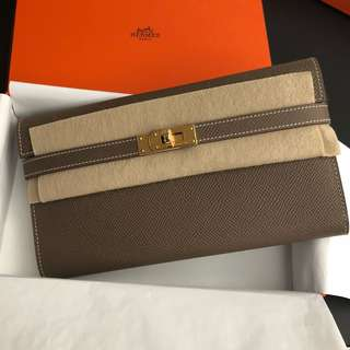 Hermes Kelly Wallet Etoup 大象灰epsom金釦 c刻
