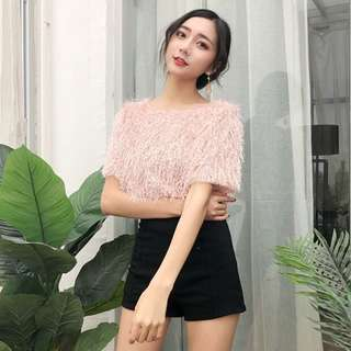 Frilly Furry Pink Top
