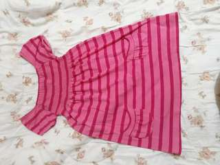 Pink Striped Dress with Two Side Poclets at the Bottom