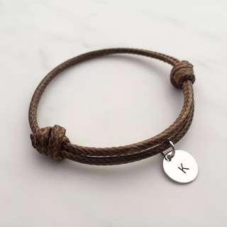 BL046D -Brown Bracelet 1 Alphabet Initial Disc Minimalist Customised Adjustable Bracelet - Made To Order