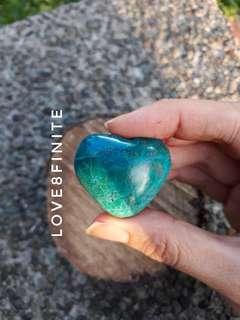 Chrysocolla natural heart shaped crystal