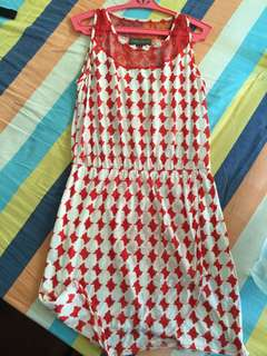 Plains and Prints Orange Dress