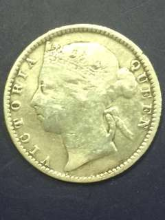 Straits Settlement Queen Victoria 10 Cent 1896 Silver Coin , Refilled at the Center