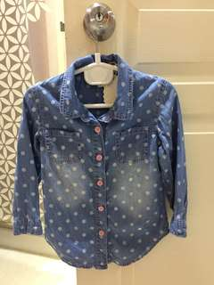 Denim polka dots shirt / Top for girl kids children