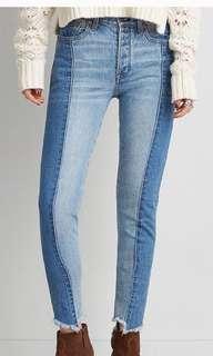 American Eagle Frayed Hem Dual Tone High-Waist Jeans