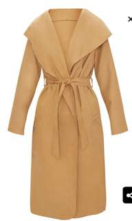 PRETTY LITTLE THING BEIGE WATERFALL COAT