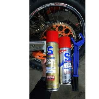 S100 Dry Chain Lube and S100 Chain Cleaner combo set