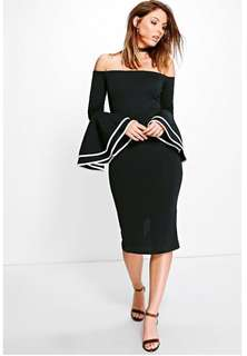 Off Shoulder Flair Sleeve Dress