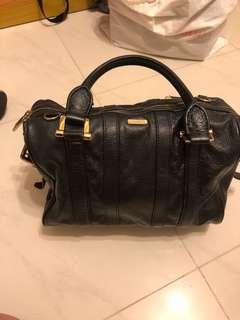 Vintage Burberry black leather Boston Bag