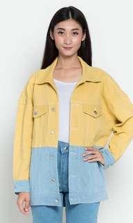 Mustard Blue Rubylicious Jacket TwoTone Look A Like Zara Denim Yellow jeans ripped kuning biru