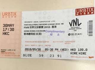 FIVB 世界女排聯賽 2018 香港 30/5 2張