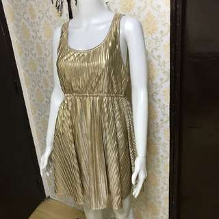 🌹Retro Pleated Gold Dress