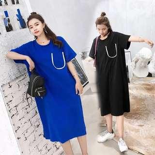 (M~2XL) Plus Size Wide Pure Color Pocket Short Sleeve Dress
