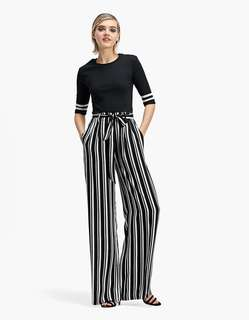 🚚 OshareGirl 05 歐美女士高腰綁帶鬆緊腰直條紋寬褲休閒長褲