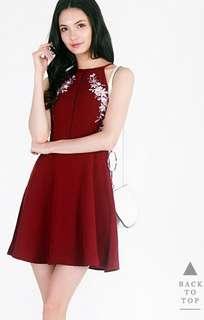 Lovet Aurelia Embroidery Dress in Wine