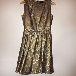 Cynthia Rowley golden dress metallic gold baby doll new size 8 RRP $359