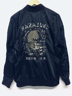 Black oversized Bomber Jacket with embroidered detail on back