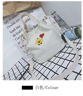 White sling canvas handbag