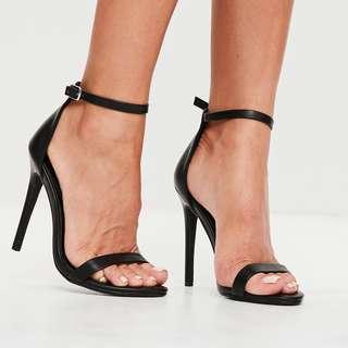 Missguided Black Strap Heels