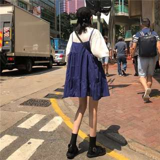 夏裝韓版女裝寬松A字娃娃裙無袖吊帶連衣裙百搭顯瘦純色中長裙