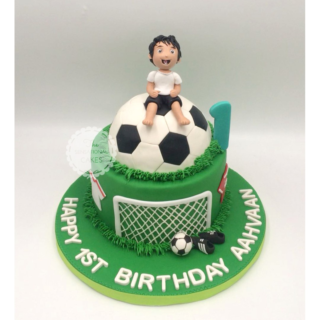 1st Birthday Baby Boy Customized Cake With Football Theme