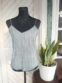 Silk Metallic Gray Sleevess Top