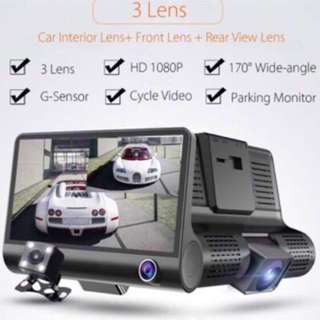 Ready Stock - 3 Lens Car Camera - record & view front, inside, rear / Night Vision / Motion Detection / Loop Recording