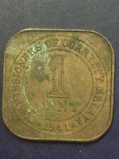 Malaya 1 Cent 1941i , Fine - VF