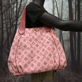 LV 時尚 粉紅色緹花布手提包(正品)