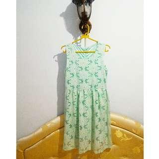 Mini dress hijau brukat