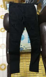 MUSIUM DIV 27碼 (M) 破爛有型黑色長褲 trousers