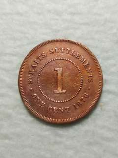 1Cent Straits Settlement Queen victoria 1876 Coin