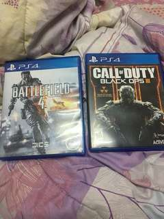 call of duty black ops 3 and battlefield  4