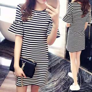 BNWT Striped Bell Sleeves Dress