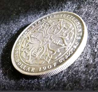 1 Dollar Straits Settlement Edward Vii 1907 Silver Coin