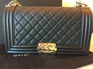 Chanel Boy 25cm 黑色 牛皮 金扣 黑牛