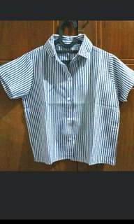 Crop stripes kemeja