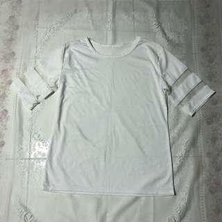 White mesh sleeves top