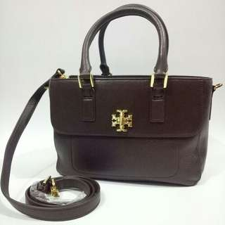 TB mercer mini satchel dark walnut GHW (coklat tua)  with zipper  23 x 20,5 x 10 cm