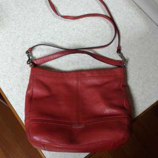 COACH 紅色真皮軟包 (側背,斜背)