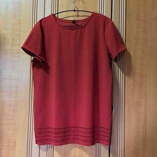 Pattern Cut Red Tunic