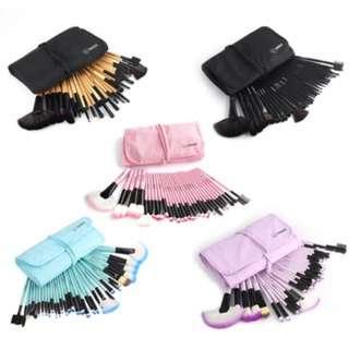 (110)32pcs Eyebrow Shadow Makeup Brush Set Kit+Pouch Bag