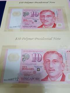 $10-polymer commerative note 2pcs running.sign LHL.PRESIDENTIAL NOTE.UNC.